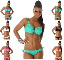 ##  MEGA SEXY Push Up Beachwear  Bikini BADEANZUG  Strass   ##