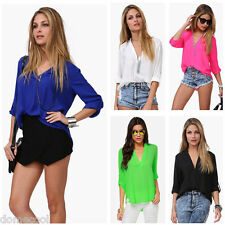 Chic Women's Chiffon V-Neck T-Shirt Stand Collar Long Sleeves Ladies Blouse Tops