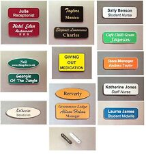 engraved name badges personalised with your details.
