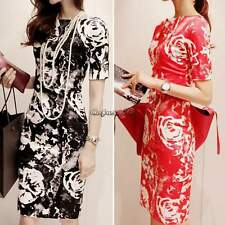 WOMEN clothing spring summer boat neck dress short sleeve print dresses CaF8