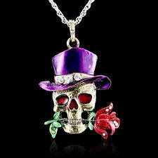 Fashion Jewelry Retro Silver Necklace Pendant Skull Flower Crystal Sweater Chain