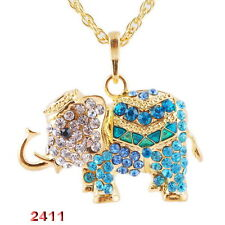 New Jewelry Crystal Elephant Pendant Necklace Gold Tone CHAINS Charms Rhinestone