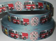"GROSGRAIN FIREMAN FIRE ENGINE7/8"" INCH RIBBON *YOUR CHOICE OF 1, 3 or 5 YARDS"