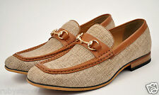 La Milano Men's Beige Genuine Leather & Linen Casual Shoes Slip On Loafers A1870