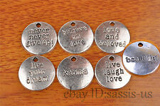 10pcs love words Charm Silver Pendant DIY Jewelry making For Bracelet Necklace