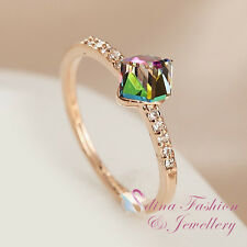 18K Rose Gold GP Made With Swarovski Crystal Delicate Water Cube Colorful Ring