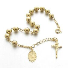 RB56-Y Cross Crucifix Sterling Silver 925 Rosary Bracelet 5.6mm Gold Plated