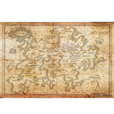 TV Show Game of Thrones Wall Poster Seven Kingdoms of Westeros Map Room Decor 3