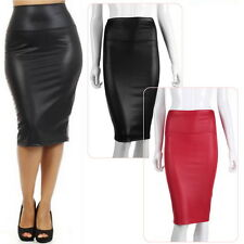 Elegant Women Sexy Black Faux leather Pencil Skirt High Waist Below Knee EC