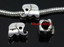 40/200pcs Tibet Silver big hole elephant beads Fit Charm Bracelet (Lead Free)