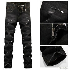 BN Italy Fashion Distressed Black Demin Mens Jeans 609A -Size 28 to 34,36