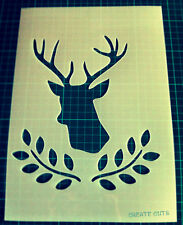 Deer Head Olive Laurel reusable STENCIL for decor / not a decal / stag