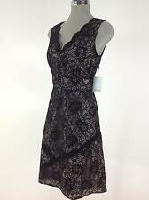 CK  NEW Elegant BLACK  Lace Dress with Nude lining and Vneck line neck