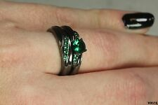 Black Rhodium Green Sapphire Plated Bridal Engagement Ring Wedding Ring Set