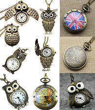 Vintage Retro Antique Bronze Owl Steampunk Quartz Pocket Watch Necklace Pendant