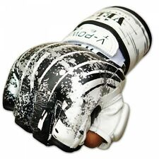 VELO Leather Gel MMA UFC Grappling Gloves Fight Boxing Punch Bag Muay Thai Wht