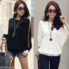 Chic Sexy Womens Ladies Batwing Dolman Long Sleeve Lace T-Shirt Loose Blouse Top