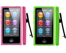2PCS new TPU Case cover skin with Belt Clip+Screen Protector For iPod Nano7G