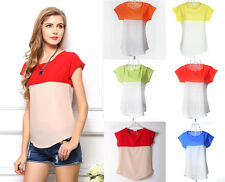 Fashion Womens Summer Short Sleeve Loose Chiffon T-shirt Casual Tops Blouse QQ