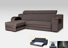 UNIVERSAL HAND CORNER SOFA BED - MADRIT BROWN - FABRIC & FAUX LEATHER 260CM