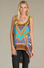 FLYING TOMATO BOHO PRINT RACER BACK HI LO TOP - AQUA IT7260 NEW S-M-L