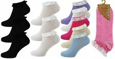 3 Pairs of Women/Ladies Frilly Lace Trim Top Cotton Trainer/Ankle/Anklet Socks