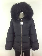Calvin Klein New WT Black Down Jacket with Hood and Removable Faux fur size L