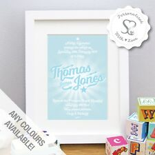 Personalised New Baby Birth Christening Print or Framed Picture Gift Nursery Art