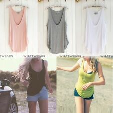 Womens Sexy V-Neck Camisole Tank Top Vest T-Shirt Sleeveless Loose Soft Cami FKS