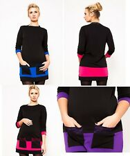 PREGNANCY TUNIC JERSEY CONTRAST COLOUR DRESS WITH LACE AND POCKETS ELEGANT
