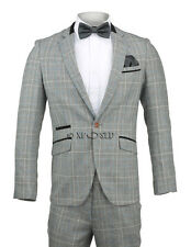 Mens Tweed Grey Checked Elbow Patch Suit Blazer Trouser One Button Wedding Party