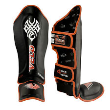 VELO Leather Pro Gel Shin Instep Pads MMA Leg Foot Guards Muay Thai Kick Boxing