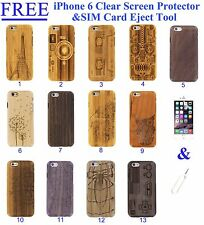 """Wood Case Bamboo Wooden Hard Cover Natural Real Genuine Screen For iPhone 6 4.7"""""""
