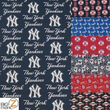 MAJOR LEAGUE BASEBALL MLB PRINT 100% COTTON BY FABRIC TRADITIONS BY THE YARD