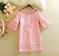 Women Hollow Out Lace Dress Flare Sleeve Transparent Lace Collar Sweet Dress