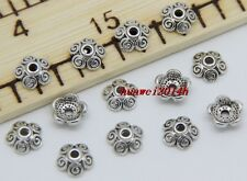 50/300pcs Tibetan Silver Flower Bead Caps Charms Beads Cap DIY 8x3mm