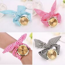 Fashion Women Stripe Floral Cloth Quartz Dial Bracelet Wristwatch Watch Pop