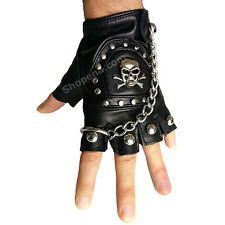 Fingerless Skull PU Leather Motorcycle Biker Gloves with Chain Punk S M L XL +