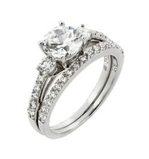 925 rhodium plated sterling silver bridal set 3 stone accent clear CZ