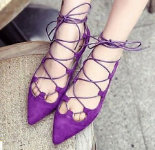 2015 Womens Ladies Roma Sandals Pointed Toe Flat Heels Lace Up Strappy Shoes New