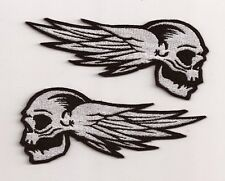 SET OF 2 - SKULLS WITH WINGS BIKERS EMBROIDERY SEW ON PATCH FOR JACKETS & VESTS