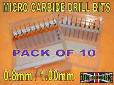 10 pce 0.8mm or 1mm MICRO CARBIDE DRILL BITS PCB JEWELLERY WATCH REPAIR CRAFTS