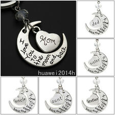 """Hot Sell Chic Family """"I LOVE YOU TO THE MOON AND BACK """" keychain Key Ring Set"""