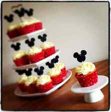 12 Mickey Mouse Cup Cake Bandera * Negro Rosa Rojo * Disney Minnie Topper Decoración
