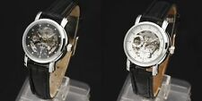 WINNER Automatic Stainless Steel Round Face Skeleton Window Leather Strap Watch