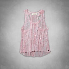 Abercrombie & Fitch Belle Shine Tank Top Womens Pink Beaded Shirt Blouse New NWT
