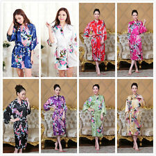 10 colors High Quality Long Peacock Bride Kimono Robe satin Night dress Gown