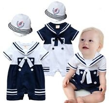 6-24M Baby Boy Sailor Romper Onesie with Hat 2-piece Suit