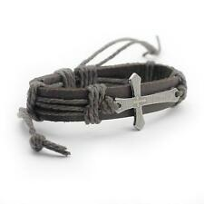 Men's Jewelry Wrist Band Retro PU Leather Hemp Rope Weave Cross Alloy Bracelet