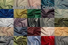 "Bridal Satin Fabric Shiny Heavy Weight 58"" Wedding Dress Sewing 26 Colors BTY"